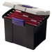 Jumbo file keeper stores and organizes letter-size files. Extra dual lid compartments for keeping small supplies. Jumbo file keeper offers soft grip handle for carrying comfort.